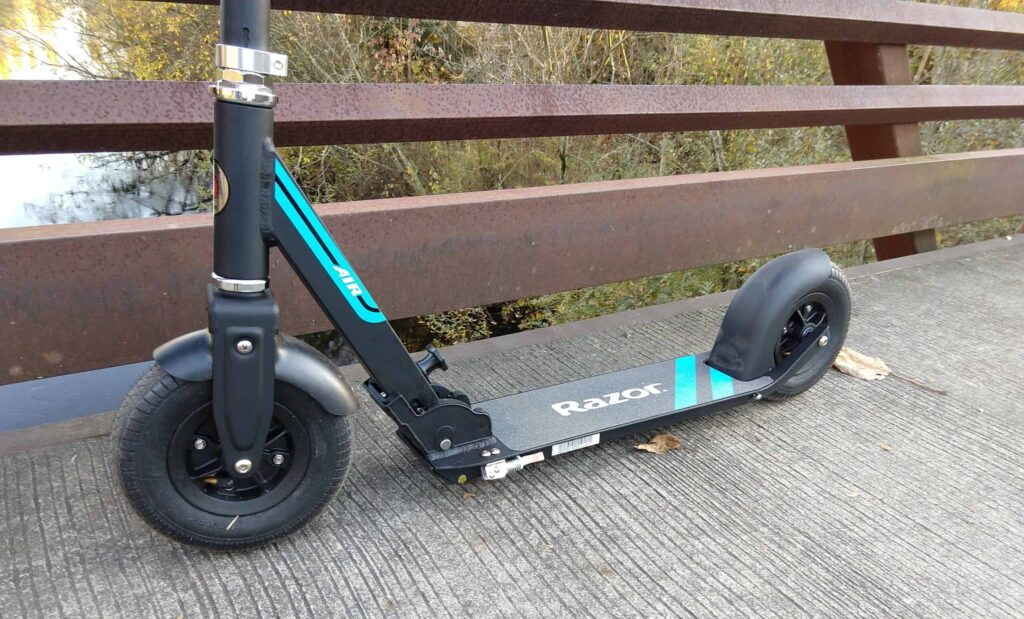Side view of Razor A5 Air adult kick scooter showing the low deck height and ground clearance