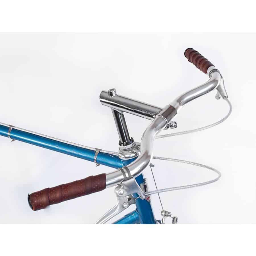 Velo Orange Postino handlebars are a more forward-leaning bar with moderate sweep for wrist comfort